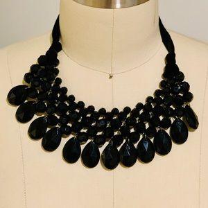 Black Bead Bib Collar Necklace